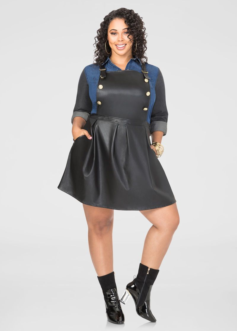 faux leather overall skater dress faux leather overall skater