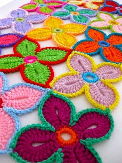 flor de crochê | Flores, Flor y Manta