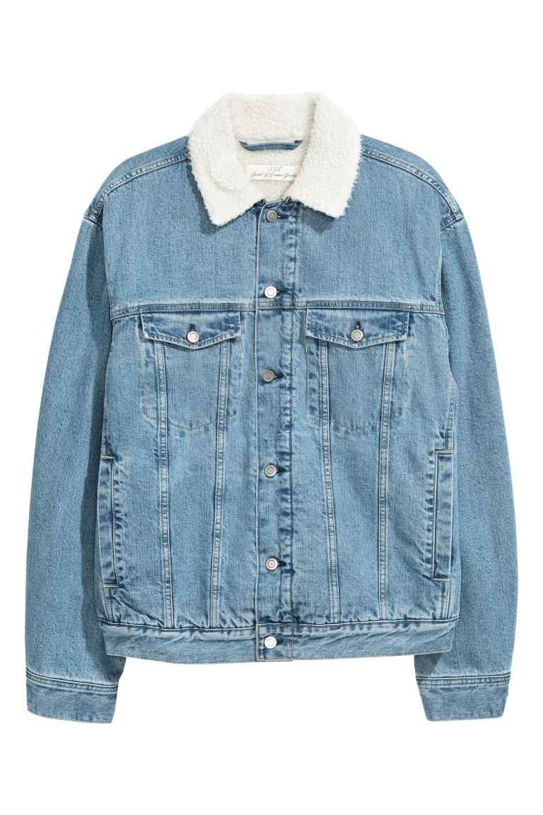 Veste en jean doublée Bleu denim clair HOMME | H&M FR
