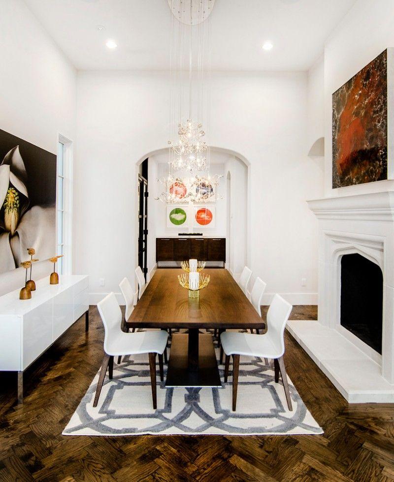 modern formal dining room set cool floor carpet painting chandelier