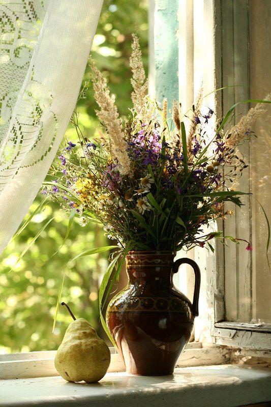фото цветы в кувшине окно впечатлительные