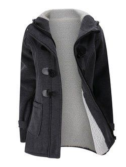 821a6c0cc31 Pockets Solid Buttoned Warm Hoodie Casual Plus Size Coats in 2019 ...