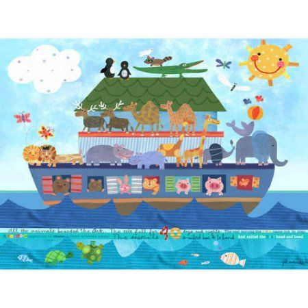 Oopsy Daisy - Noah's Ark Canvas Wall Art 24x18, Jill McDonald