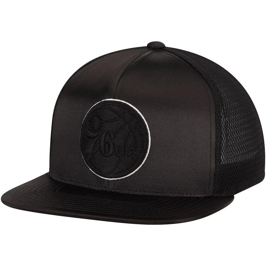 Men s Philadelphia 76ers Mitchell   Ness Black Satin Trucker Adjustable Snapback  Hat eca499791b84