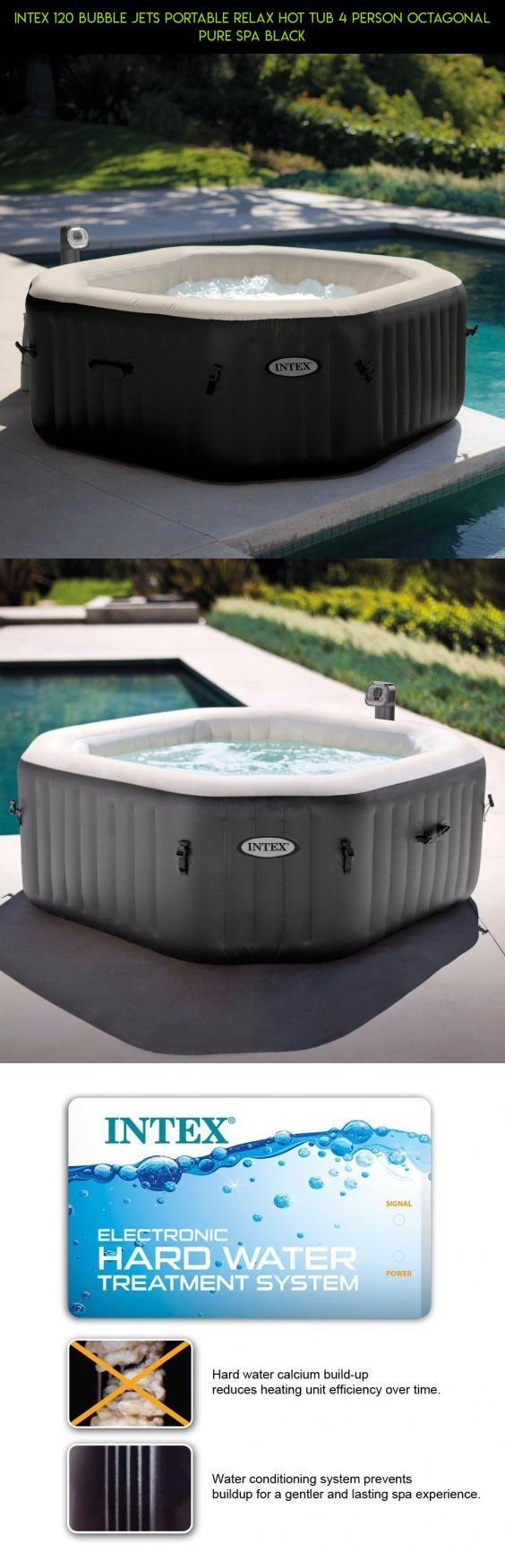 Intex 120 Bubble Jets Portable Relax Hot Tub 4 Person Octagonal Pure ...