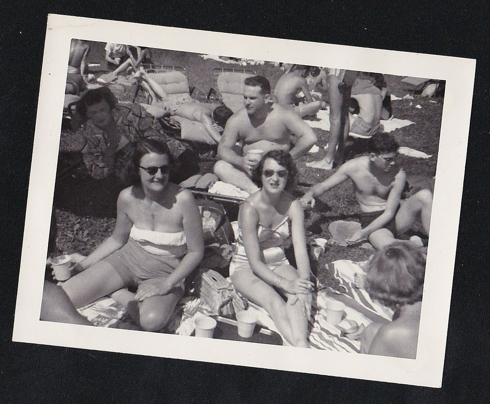 Old Antique Photograph People Sitting on Ground Wearing Bathing Suits Picnic?
