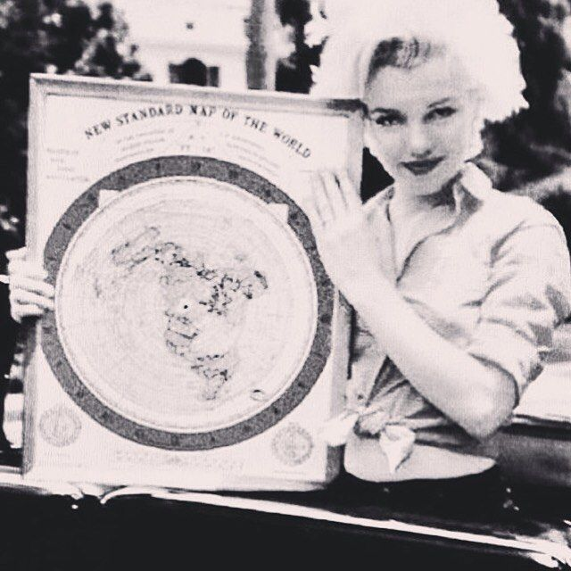 Marilyn Monroe holding a flat earth map. #flatearth #marilynmonroe