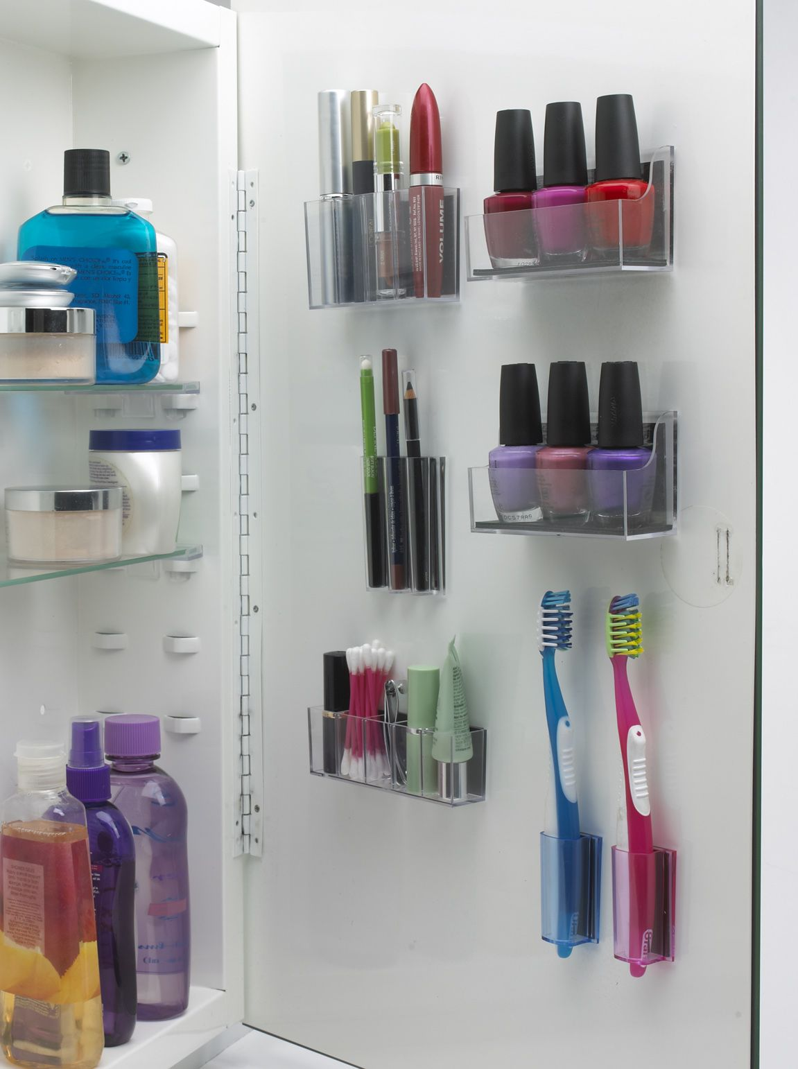 Bathroom cabinet organizers - Magnapods Help You Organize Items In Your Medicine Cabinet I Love The Toothbrush Holder