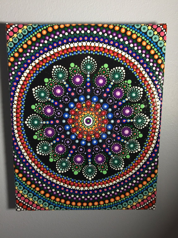 Hand Painted Mandala Canvas Meditation Dot Art Calming Healing #414