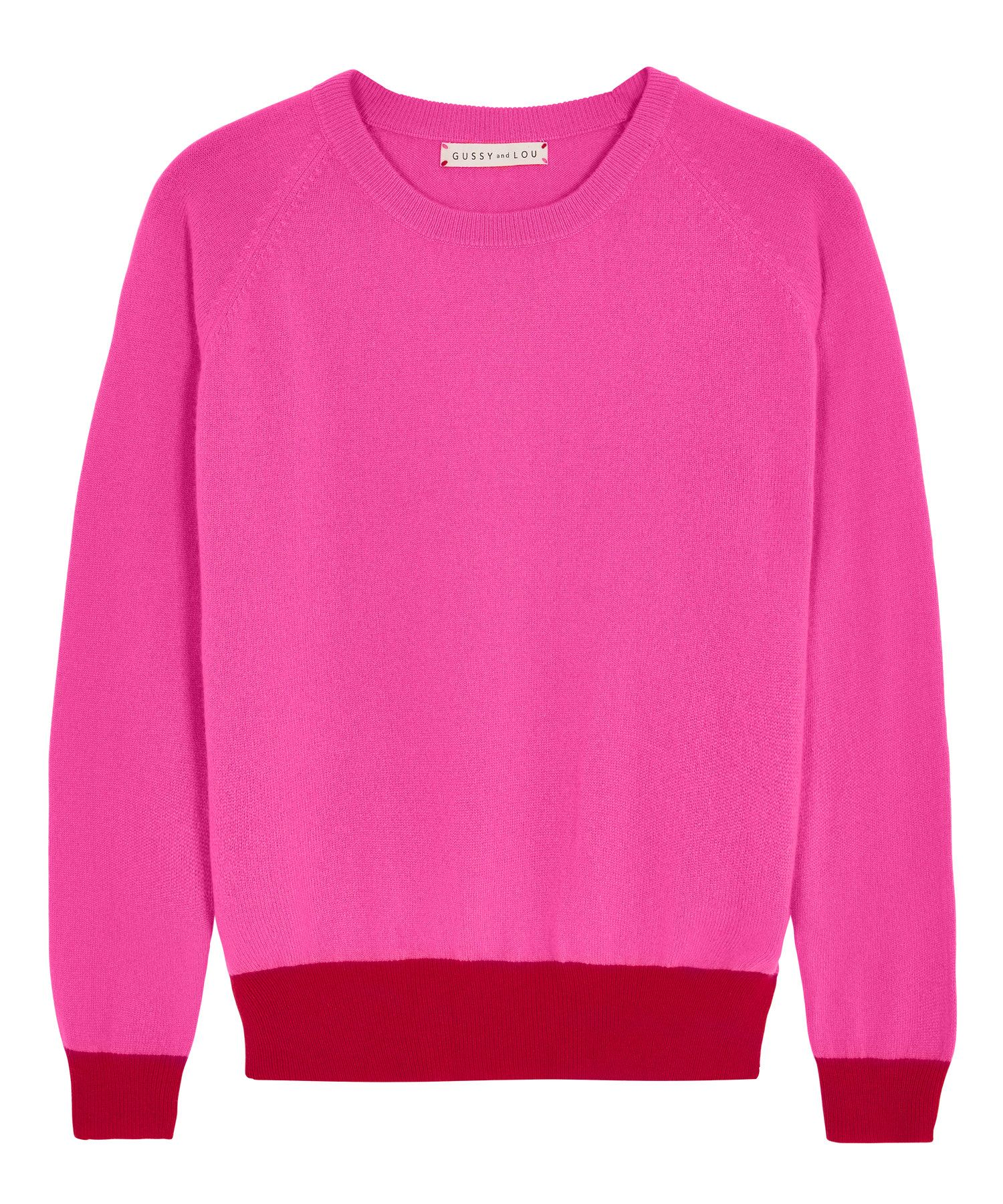 Ladies Neon Pink with Red Cashmere Jumper — Gussy and Lou