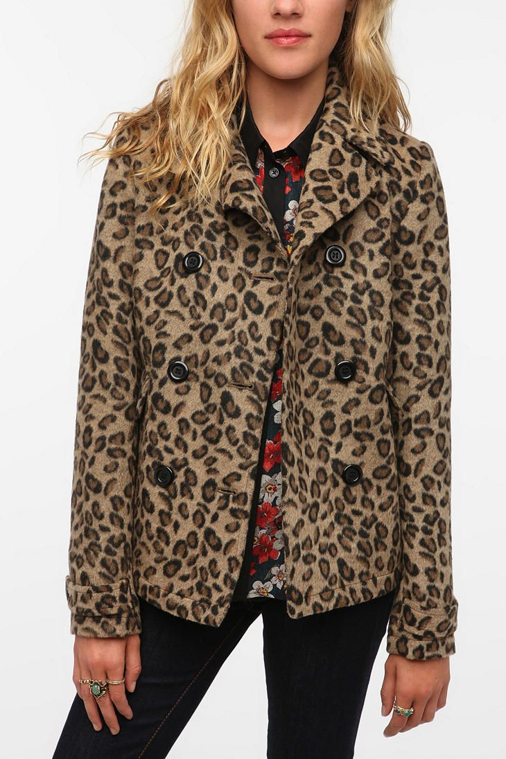 Urban Outfitters - Pins and Needles Leopard Peacoat