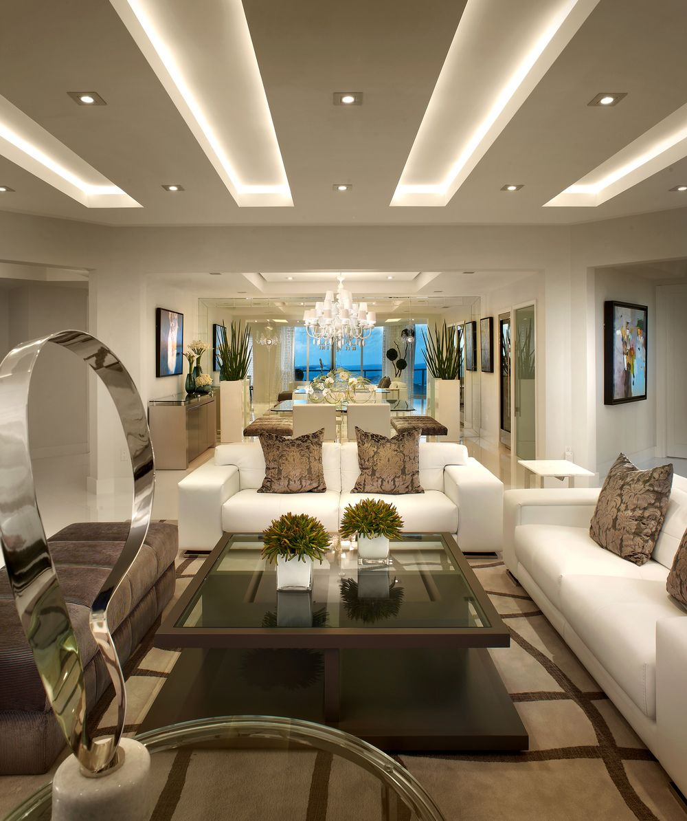 Recessed Panel Living Room Interior: Home Designs And Ideas