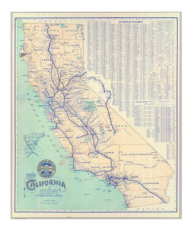 Vintage 1901 California Map Adhesive Print