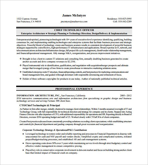 Chief Technology Officer Executive Resume  Executive Resume