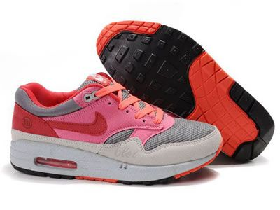 Billige Nike Air Max 1 Sport Sko Grå Rød Rosa Online GRATIS
