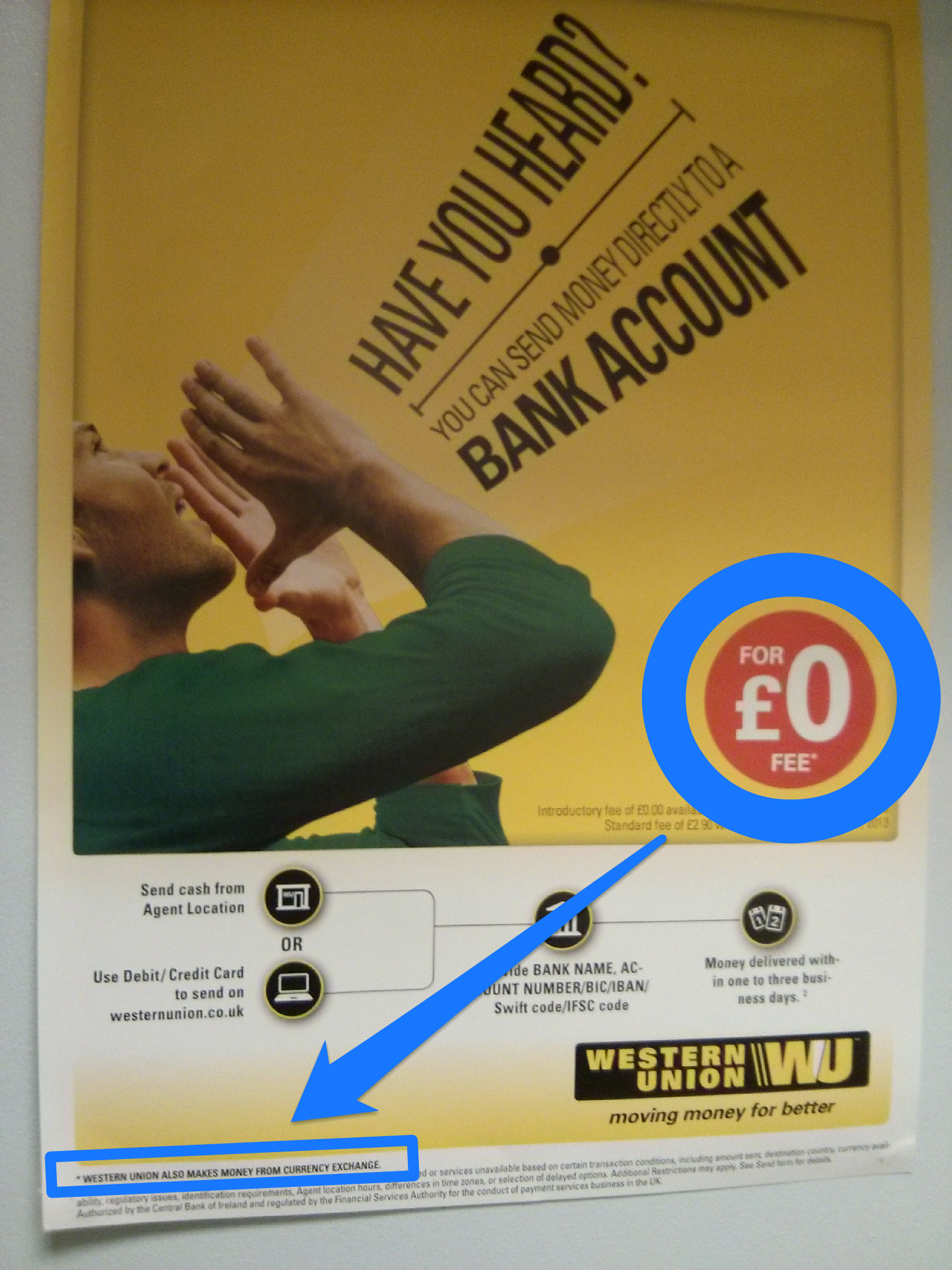 Western Union frequently claim that customers don't pay any