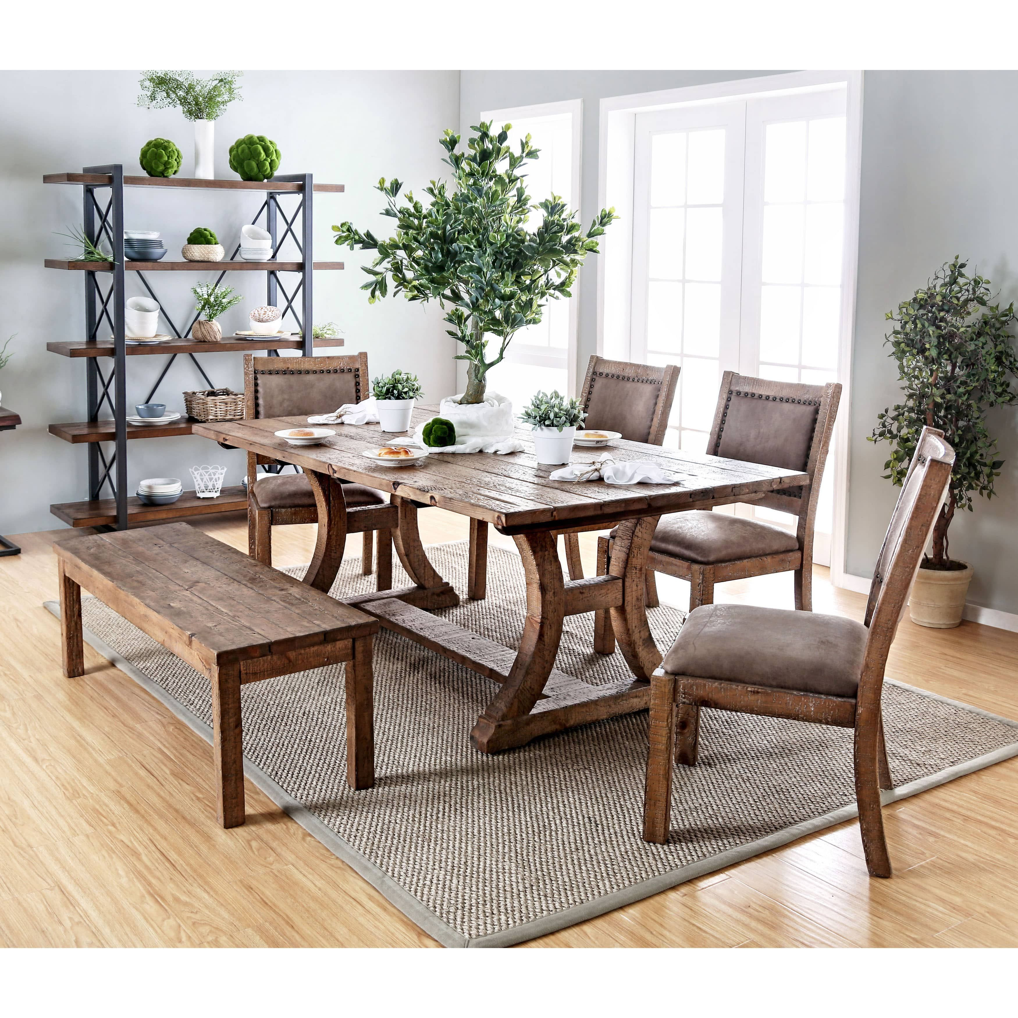 Furniture Of America Matthias Industrial Rustic Pine Dining Table Prepossessing Pine Dining Room Table And Chairs Review