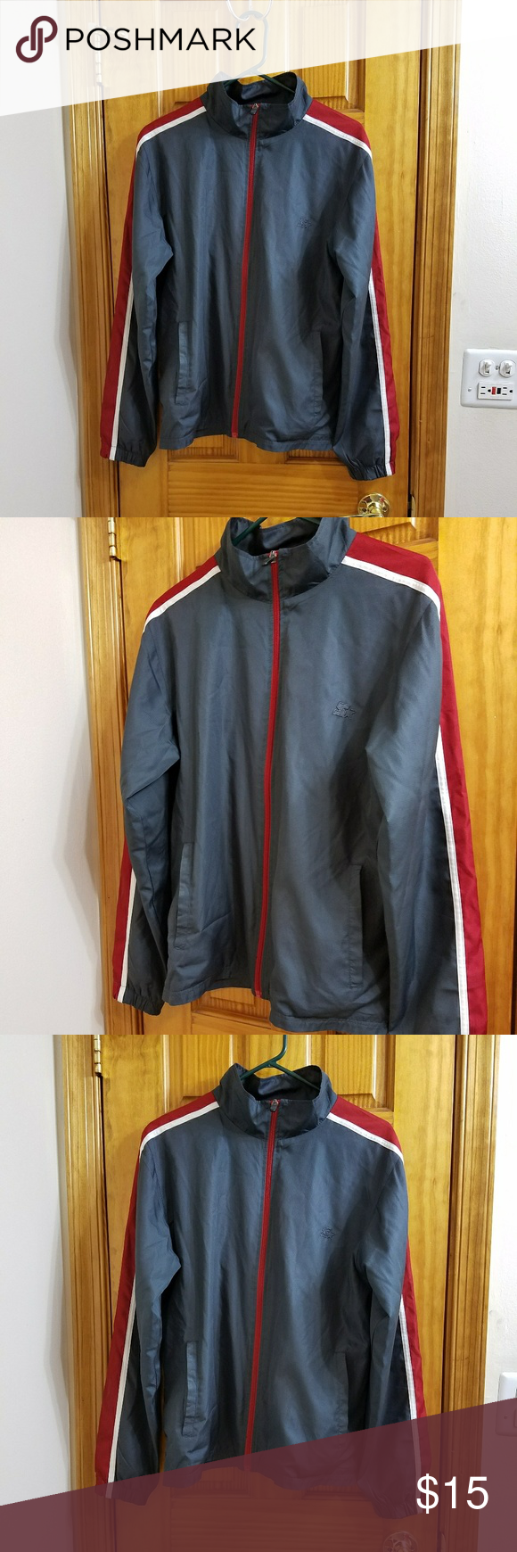 Jacket Brand new  Has pockets on the outside  Stand collar  Red, grey, and white. z☆ Jackets & Coats Lightweight & Shirt Jackets