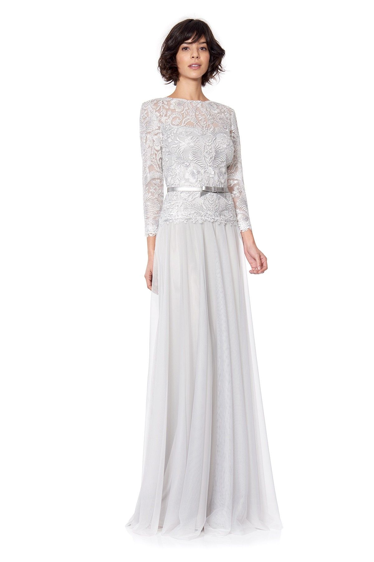 Corded Embroidery on Tulle 3/4 Sleeve Tulle Gown | Tadashi Shoji ...