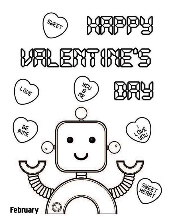 Happy Valentine 39 S Day Say The Cute Robot Coloring Page Kids