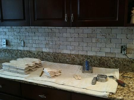 Tumbled Travertine With Beige Subway Tiles Dreaming Of