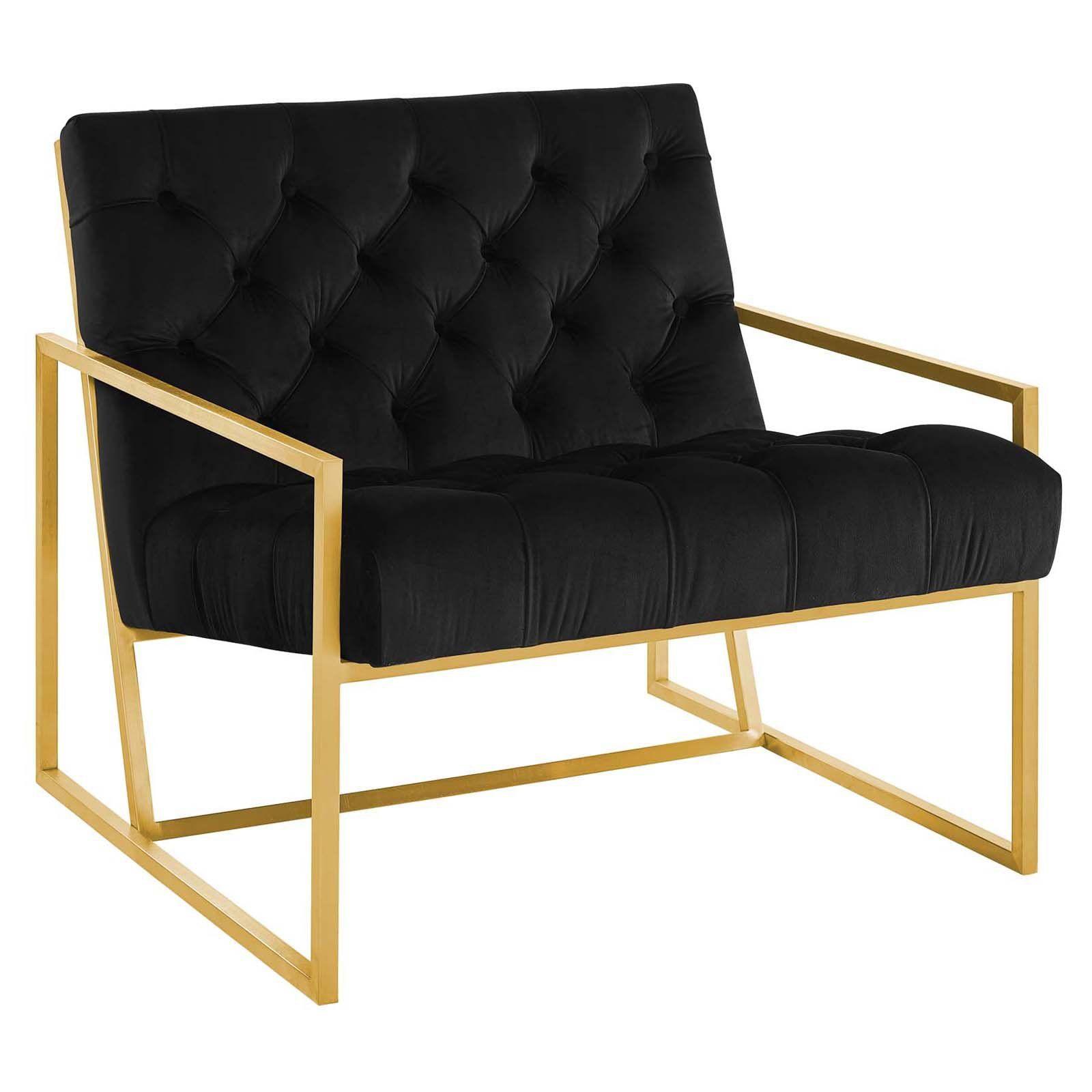 Modway Bequest Gold Stainless Steel Upholstered Velvet