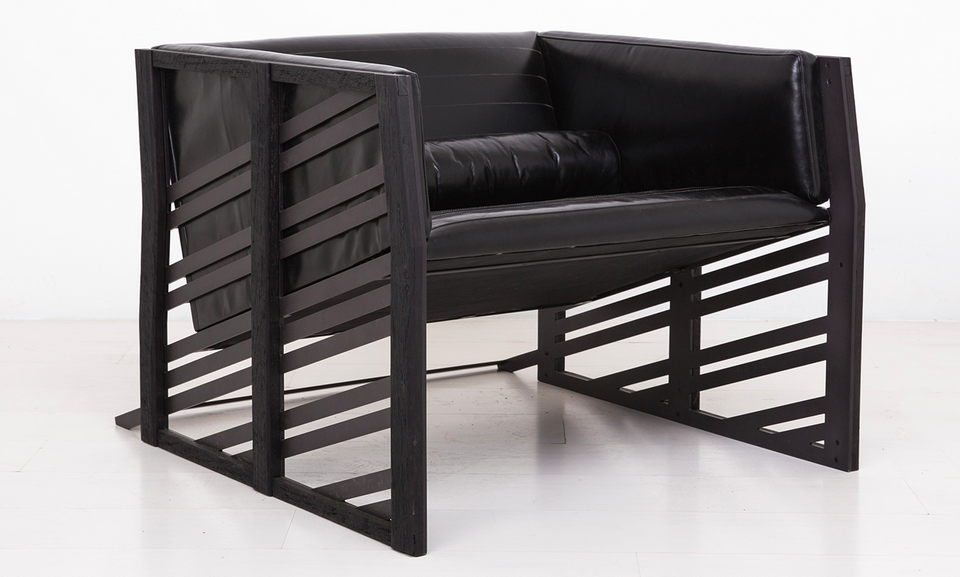 UHURU's Gärdesgård Lounge Chair is inspired by the distinct Scandinavian fence style of the same name.  The fence, with its angled cross members creating a triangle between the ground the uprights, has an unmistakeable guise of movement – appearing to flow over the hills and fields whose borders it defines. In the steel frame of the chair UHURU references this form and attempts to capture its dynamics; a piece animated and non-static; motion reflected in form just as in the Gärdesgård fence.
