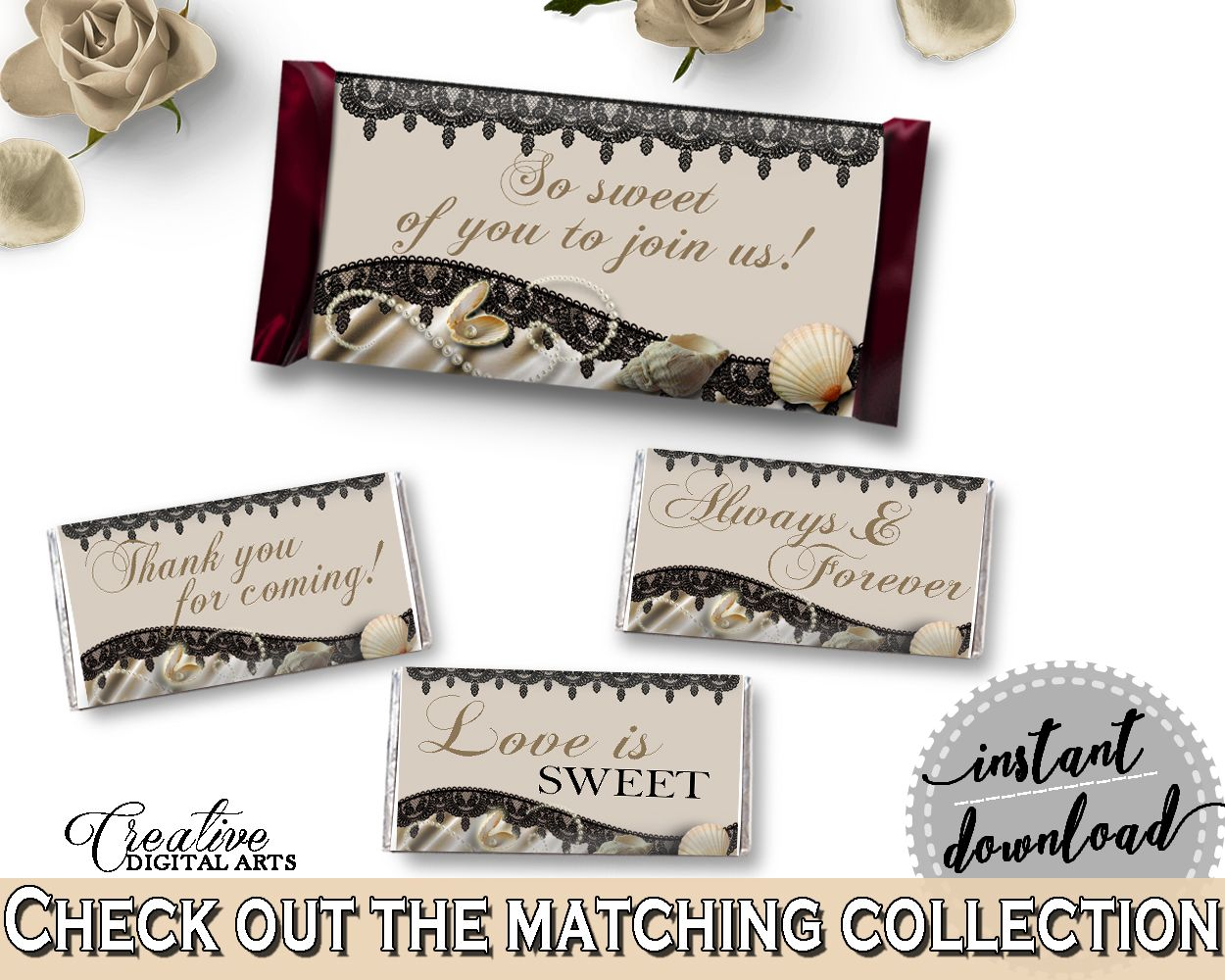 Hershey Mini And Standard Wrappers in Seashells And Pearls Bridal Shower Brown And Beige Theme, decoration wraps, shower activity - 65924 #bridalshower #bride-to-be #bridetobe