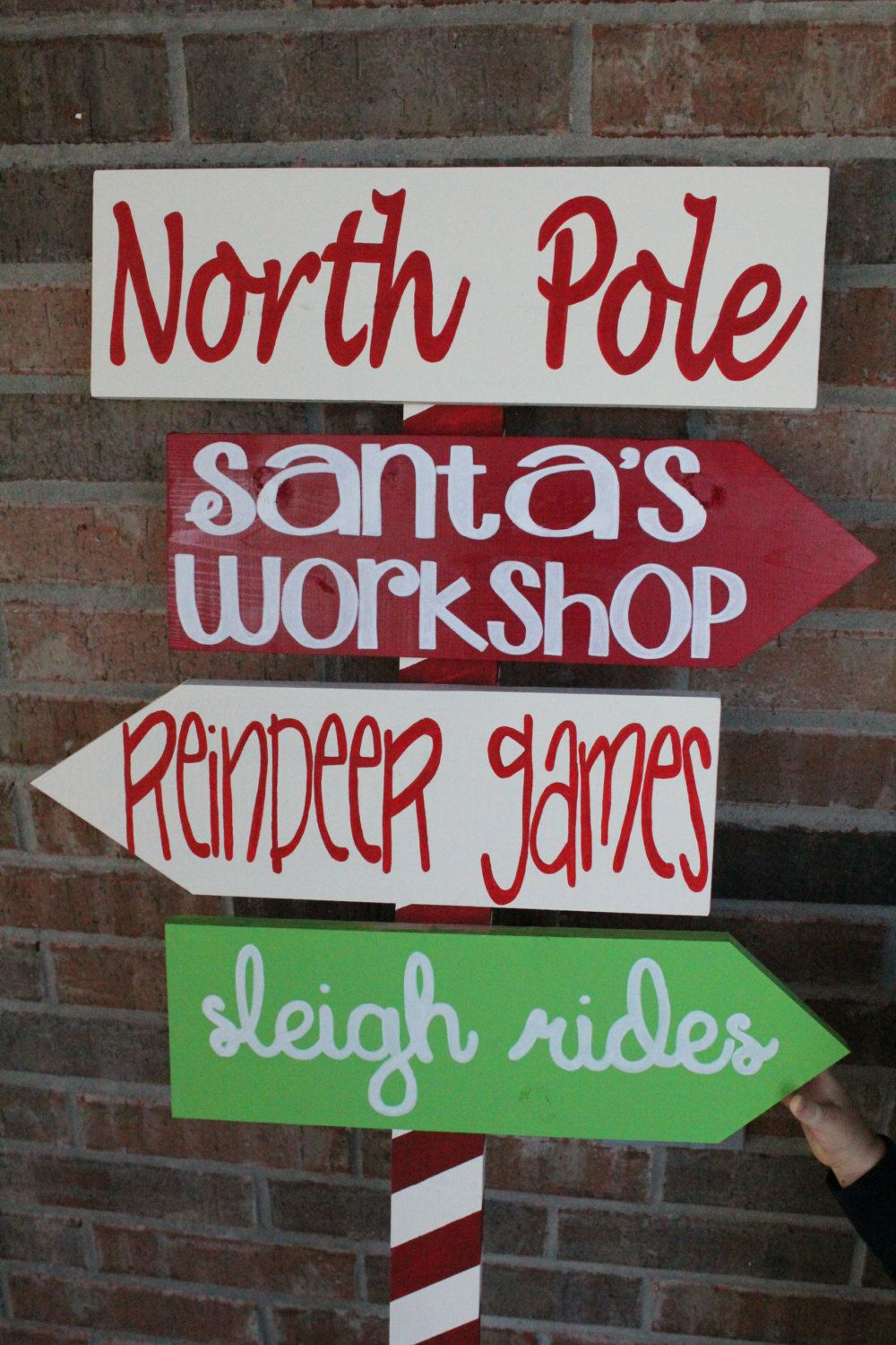 North pole yard sign by customsignsbyjac on etsy for Homemade christmas yard signs