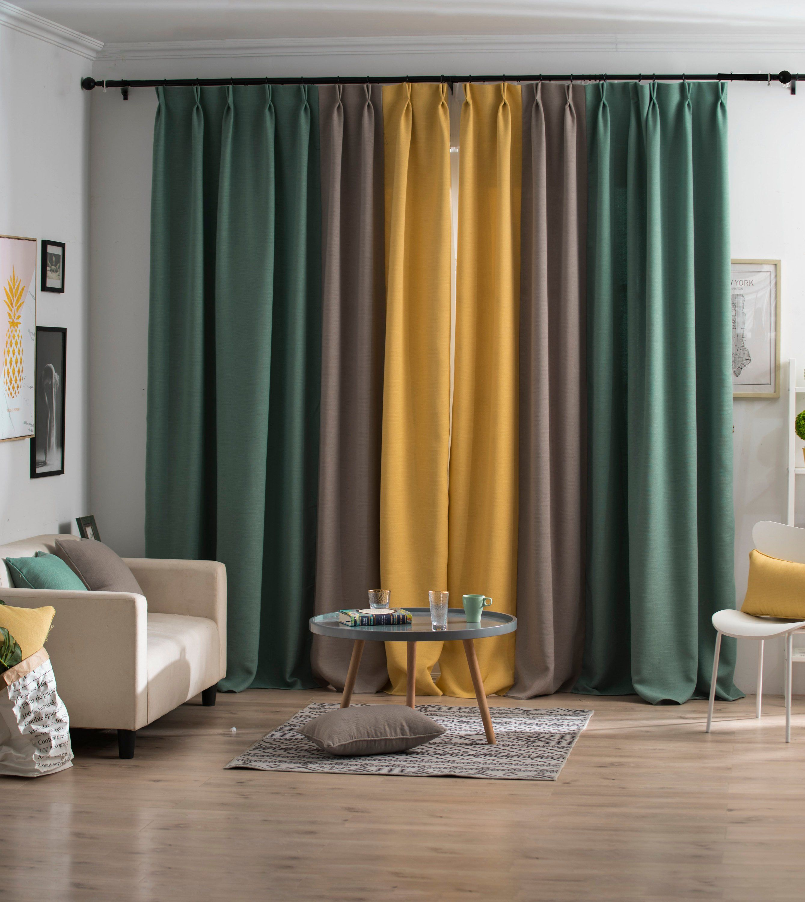 Yellow Gray And Green Color Block Drapery Homedecor