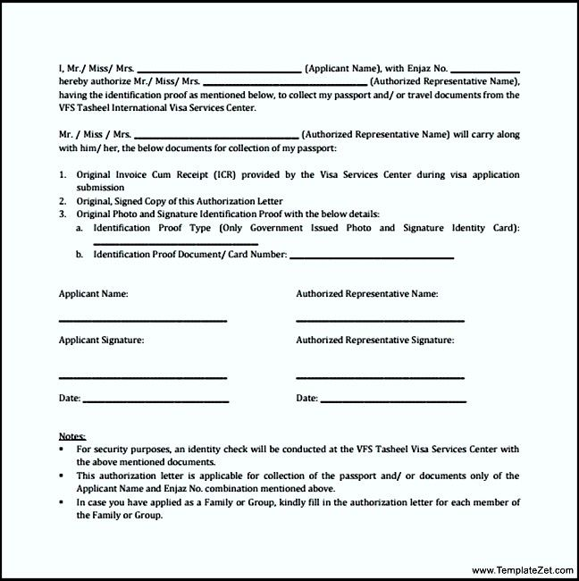 letter format for passport sample authorization receive passportavel