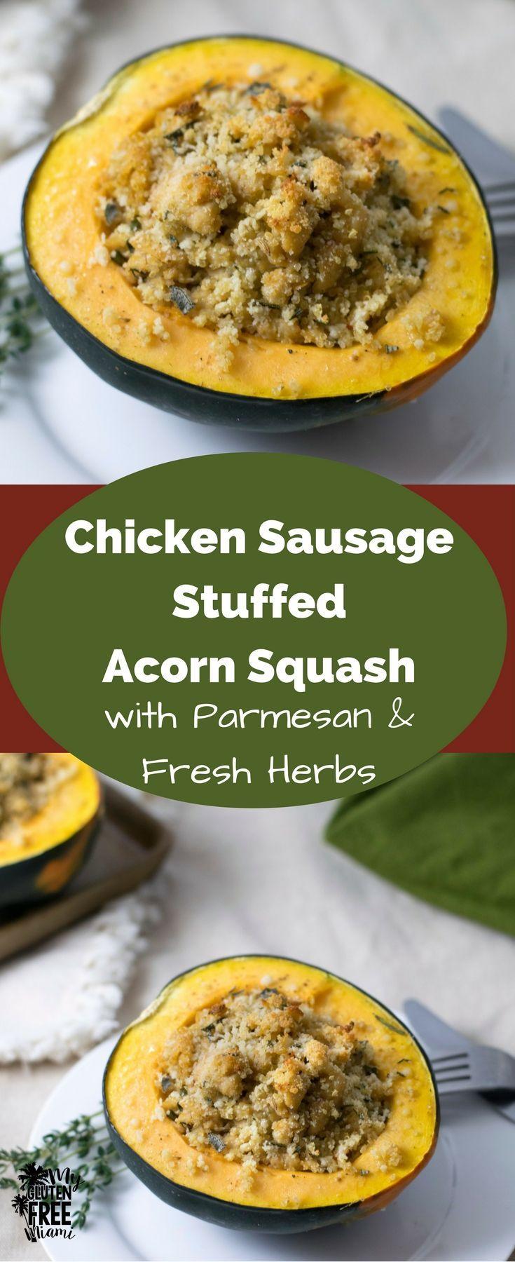 Quinoa And Chicken Sausage Stuffed Acorn Squash Gluten Free