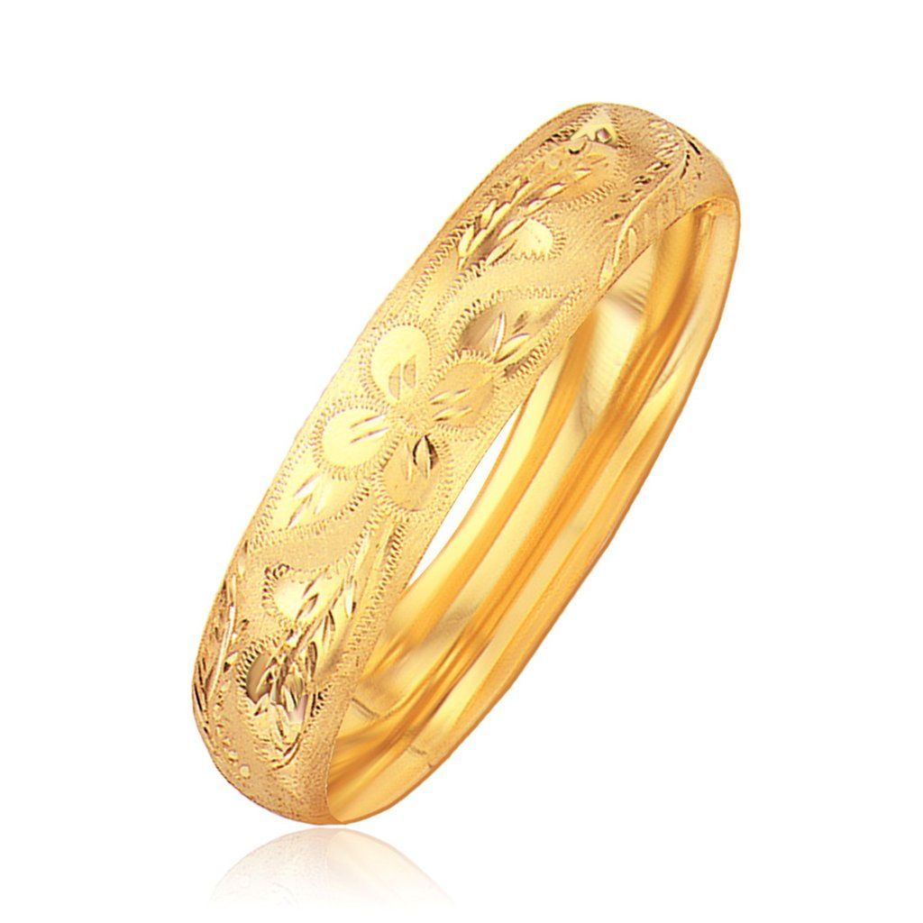 Classic floral carved bangle in k yellow gold mm ns gm and ks