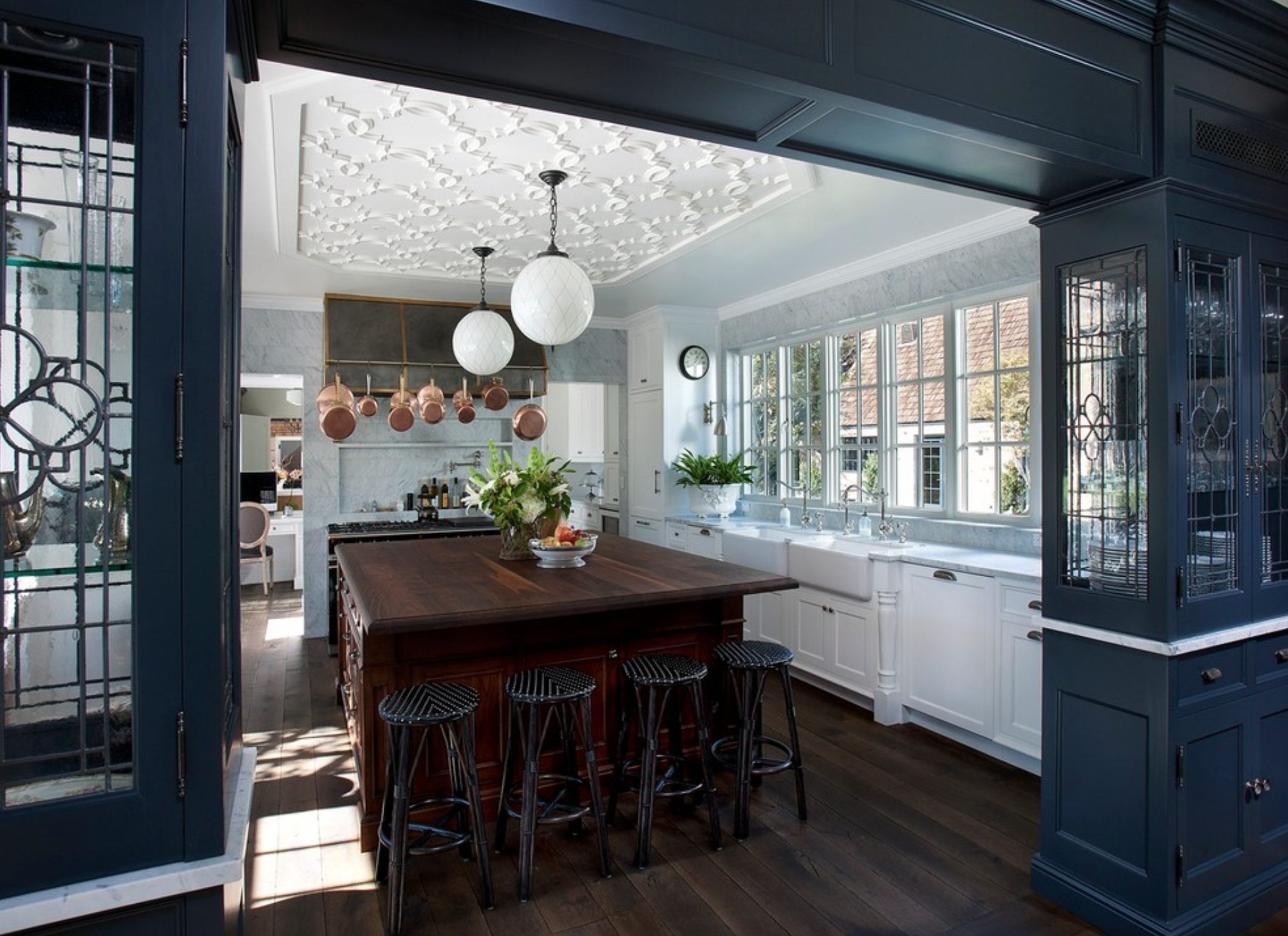Modern Victorian Kitchen In Blue And Whitecandlearia Design Fair Modern Victorian Kitchen Design Decorating Inspiration