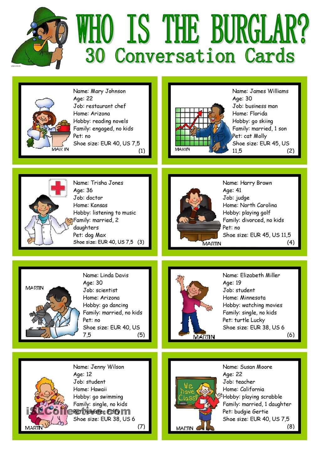30 conversation cards roleplay class and group speaking