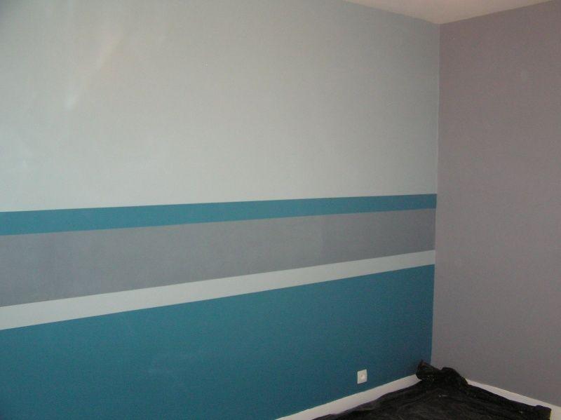 Bande mur grise bleu recherche google home sweet home en 2019 sweet home bathtub et home - Couleur peinture mur chambre ...