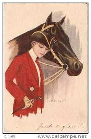 NANNI - ART DECO  POSTCARD - LADY & HORSE -  257-3