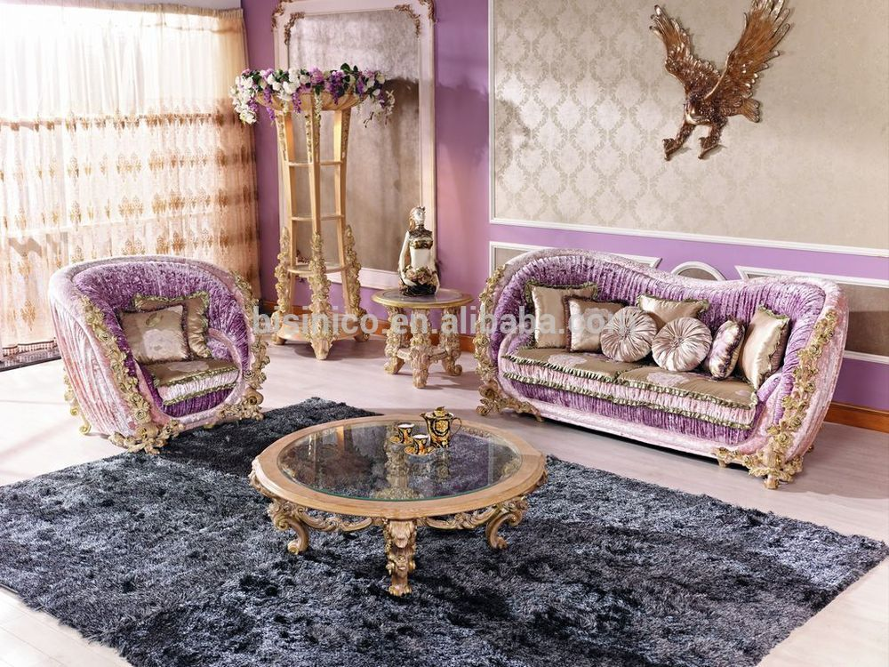 Italian luxury living room furniture antique rose solid Luxury wood furniture