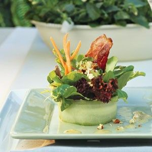 bacon and blue cheese cucumber basket salad.
