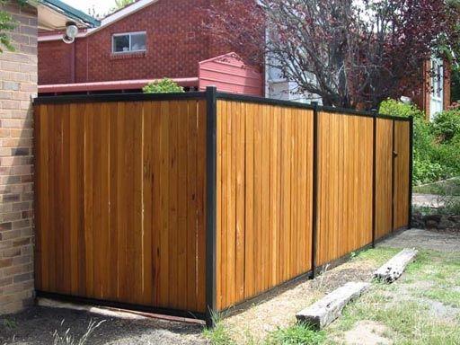 Wood Fence With Black Posts Modern Fence Backyard Fences Metal