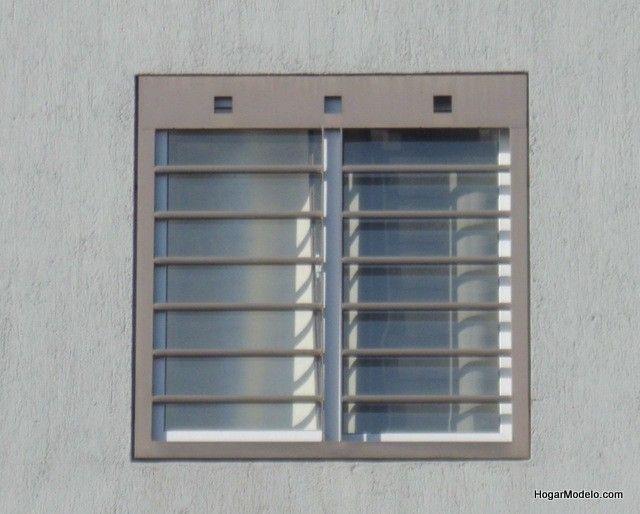 Fotografía de rejas modernas para ventanas con barrotes horizontales