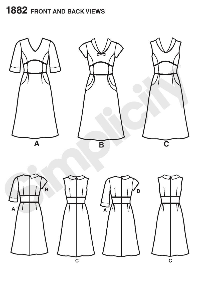 Simplicity 1882 - View A with View C collar. | BUY ALL THE SEWING ...
