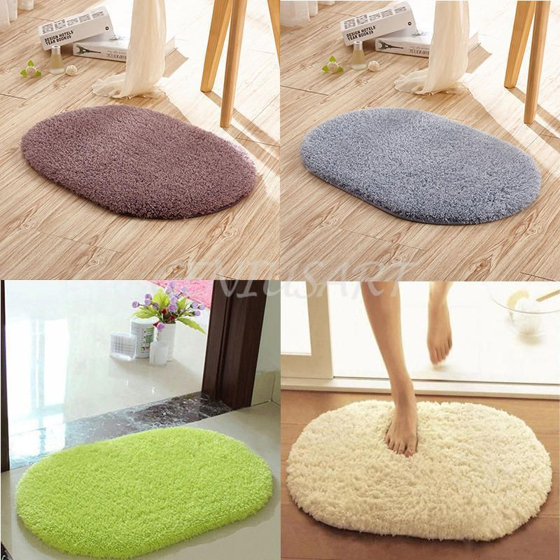 Oval Shape Plush Rug Shaggy Non Slip Absorbent Bath Bathroom