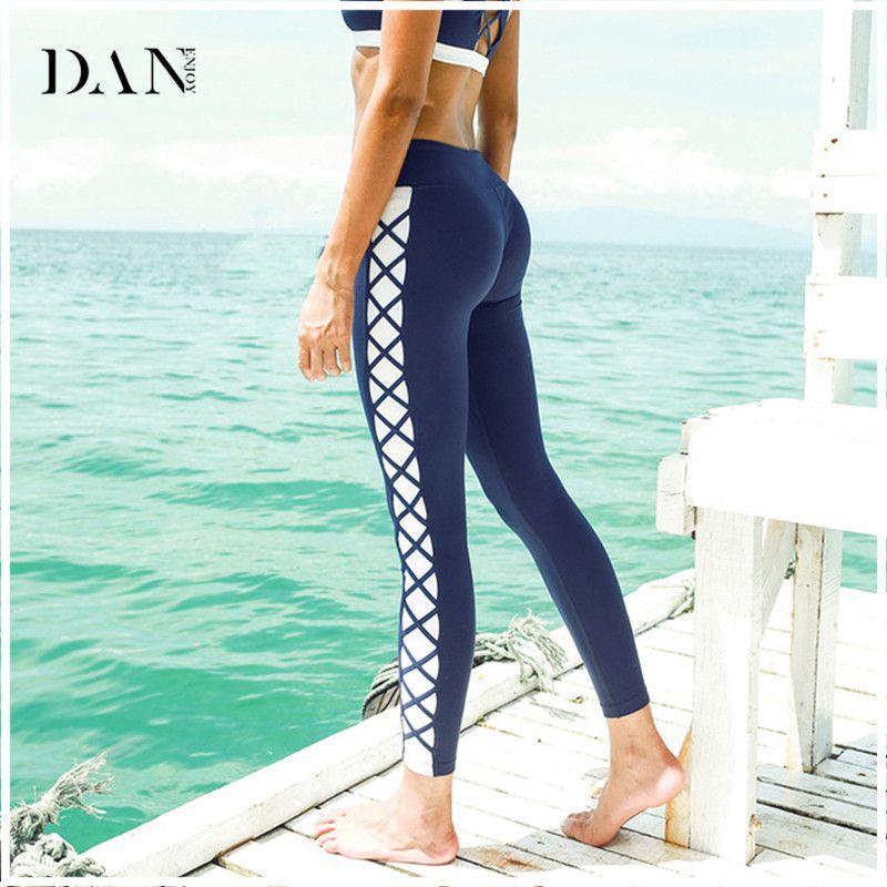 Hot Sale Women Sports Tights Yoga Pants Side Cross Splice