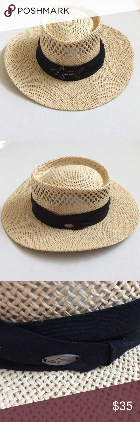 Greg Norman Signature Straw Hat Breathable Os Straw Hat Greg Norman Lightweight Tops