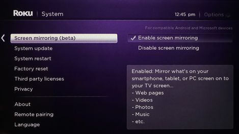 Mirror your smartphone or tablet to the TV with a Roku