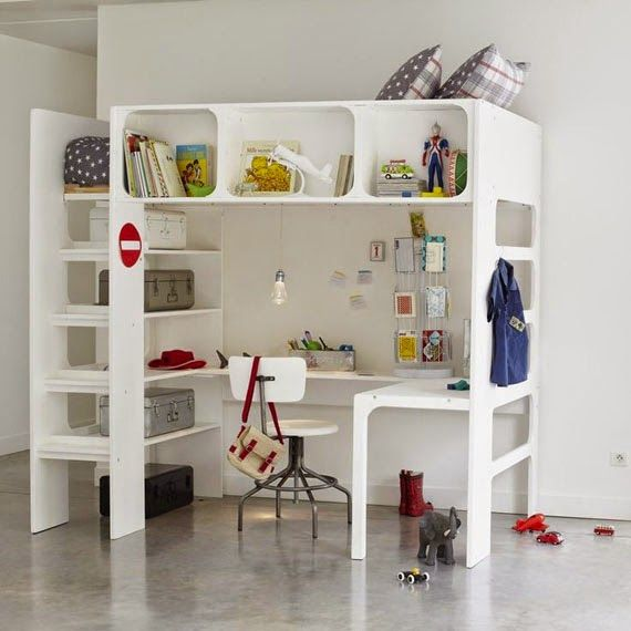 mommo design LOFT BEDS WITH DESK Decoración Pinterest