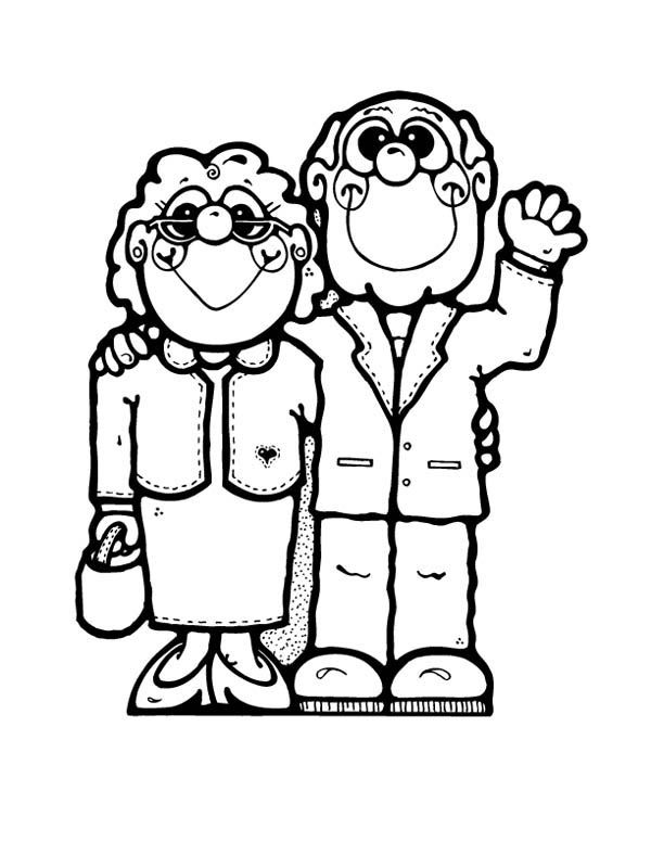 Cartoon of Grandparent on Gran Parents Day Coloring Page   BEN KİMİM ...