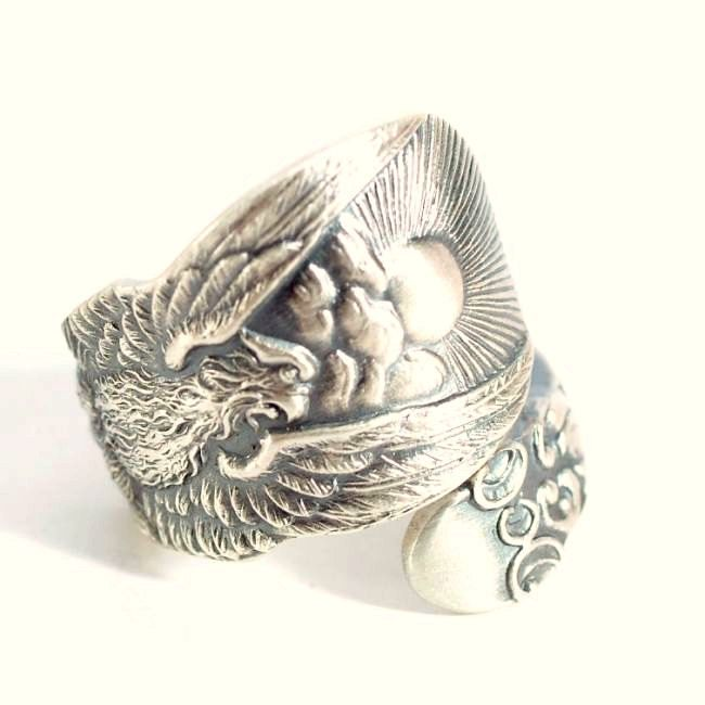 Phoenix Rising Ring, Sterling Silver Spoon Ring, Phoenix Wings, Pheonix Wings, Chicago Ring, Gift for Him or Her, Custom Ring Size, (5689) by Spoonier on Etsy