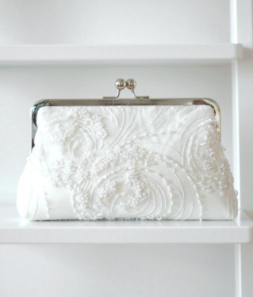 Bridal Clutch   Beaded Clutch   Wedding Clutch - I wore my mother s wedding  dress - would like to make these for my children s weddings out of my dress. 66b765b96d3f8